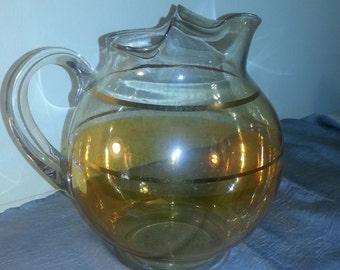 Ball pitcher 96 ounce irridescent gold and orange, bar-ware, glassware, sangria pitcher, glass jug, iced-tea, lemonade