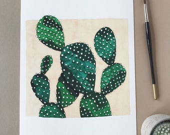 Prickly Pear Cactus A4 Print