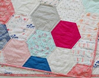 Modern Baby Girl Hexagon Quilt - Paperie