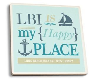 Long Beach Island Is My Happy Place 2 - LP Artwork (Set of 4 Ceramic Coasters)