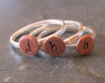 Personalized ring, Initial Stacking Rings in Copper and Sterling Silver