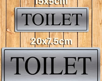 Toilet Silver Metal Sign Plaque. 2 Size Options