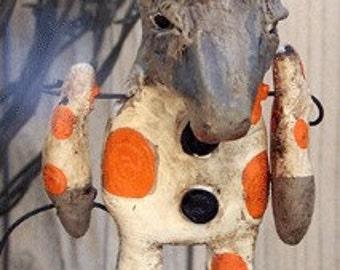 Folk Art Halloween Donkey Trick or Treater Doll ooak handmade