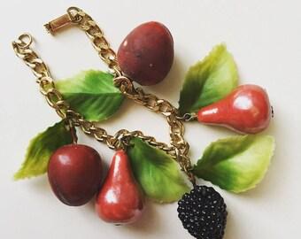 1960s vintage plastic celluloid fruits berries gold tone bracelet