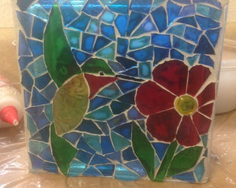 Glass block mosaic with hummingbird and butterfly - lighted