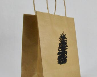 Small Kraft Shopping Bag with Longleaf Pinecone Woodblock Print