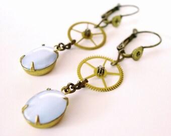 Steampunk Earrings, Blue Glass Dangles, Watch Gears - Free Domestic Shipping