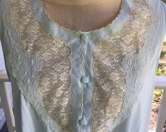 1970's Night Gown, Vintage Lingerie,Pale blue Slinky Nylon, with ecru lace inset and embroidery
