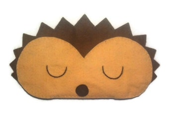 Hedgehog eye mask, Hedgehog sleep mask, animal sleep mask felt eye mask sleeping aid, Woodland sleep mask