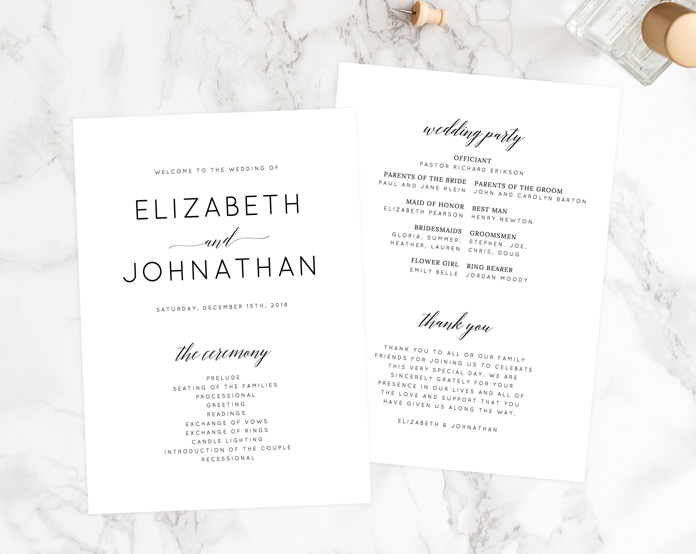 instant download wedding program template printable wedding program