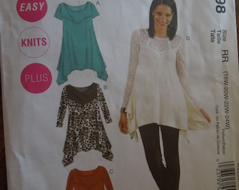 McCalls M6398, sizes 18W-24W, womens, tunics, tops, UNCUT sewing pattern, craft supplies