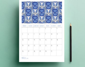 Handmade, Printable Calendar 2018, Family Calendar, Instant Download, DIY, Watercolour, Mid Century Water Colour Design, Patterns