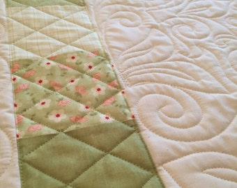 Whole Cloth Baby Quilt by Ellen Abshier of Laugh Sew Quilt