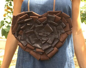 Leather handmade necklace in the shape of a heart. Leather necklace heart shape