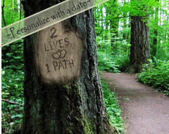 2 Lives 1 Path, Digital tree carving with message, Tree-lined path, WITH or WITHOUT date, Print, Engagement, Wedding & Anniversary