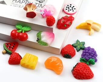 15 PC Fruit Assorted Mix Lot Mini Kitsch Plastic  Resin Flatbacks Cabochons F040118