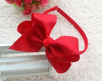 1pcs baby Bow headband, large hair bow headband,Handmade Headband, Headband for Baby,Ribbon Boutique,Grosgrain Headband,Red headband O