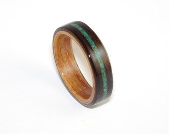 Bent Wood Ring, Ebony & Padauk with Malachite Inlay, Mens Wood Ring, Womens Wood Ring, Wood Engagement Ring, Wood Wedding Band, Wooden Ring