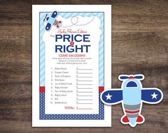 Instant Download Airplane Baby Shower The Price Is Right Game Cards, Printable Party Sheets for Boy, Blue Red Aviation Polkadot  #37A