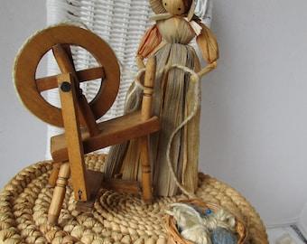 Corn Husk Doll w Spinning Wheel Yarn Rabbit Kanes Korn Dolls Vermont
