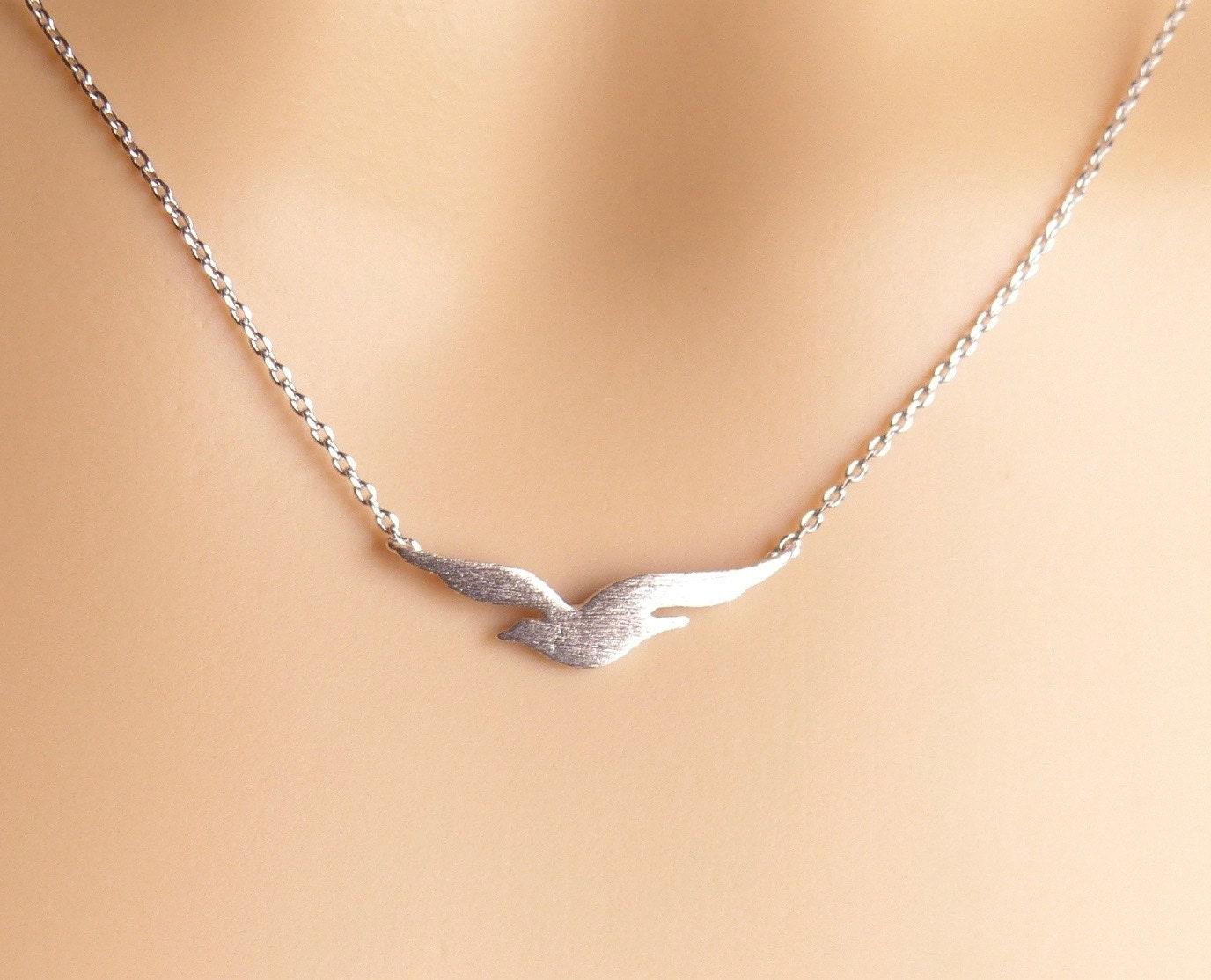 Soar bird necklace Silver seagull necklace/bird