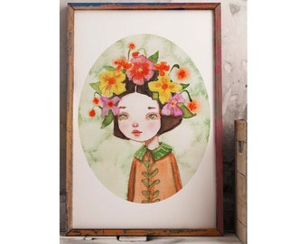 THE FLOWER GIRL by Danita. An original watercolor surreal paining of a little girl with poppies, Lilies and wildflowers in her head