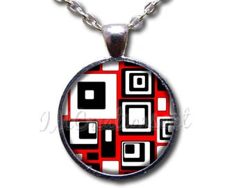 Retro Squares Pattern Round Glass Dome Pendant or with  Necklace