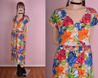 90s Colorful Floral Button Down Dress/ Medium/ 1990s