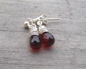 Garnet Stud Earrings, Sterling Silver, Wire Wrapped,  January Birthstone Jewelry, Mozambique Garnet Post Earrings, Genuine Gemstone
