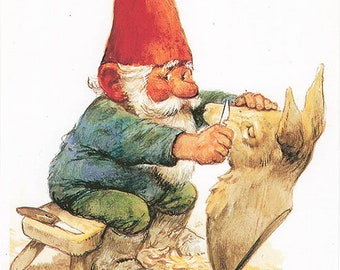 Vintage art print 80s. David the gnome carving a wooden deer. By Rien Poortvliet.