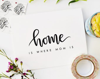 Home Is Where Mom Is, Mother's Day Card, Mom Birthday Card, Hand Lettered Card, Calligraphy Card, Card For Mom, Mom Home Card / Blank Inside