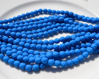 Neon Electric Blue 6mm Faceted Fire Polish Round Czech Glass Beads  25