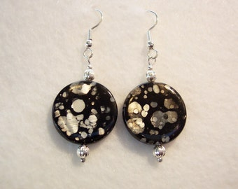 Black Earrings, Mother of Pearl Coin Earrings, Black and Silver Gray Mother of Pearl Coin Earrings, Clip ons Available