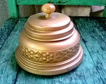 French Art Nouveau Gold Metal Powder Box, Ornate Trim, Music Box, Powder Tureen,Boudoir