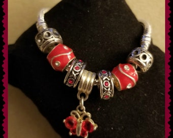 Pandora STYLE bracelet with a Red butterfly focal bead