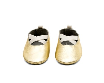 Handmade Genuine Leather Mac&Lou Baby Girl Ballerina Shoes Sandals Moccasins Babies Booties Shoes Baby Shower Gift Christmas Gift Light Gold