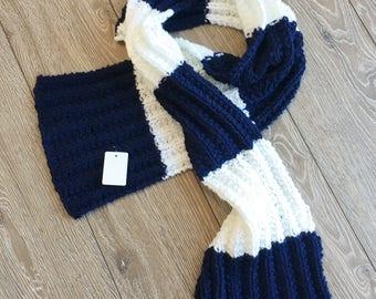 Knit Scarf, Winter Scarf, Blue Scarf