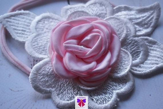Pink flower on white flower motif elastic headband - Baby / Toddler / Girls / Kids Hairband / Hair bow / baptism/ christening  / birthday