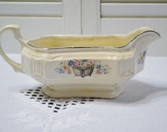 Vintage Gravy Boat Edwin Knowles Floral Design Planter Vintage China Dish Chippy PanchosPorch