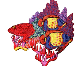 ID 0193 Coral Fish Patch Underwater Ocean Sea Life Embroidered IronOn Applique