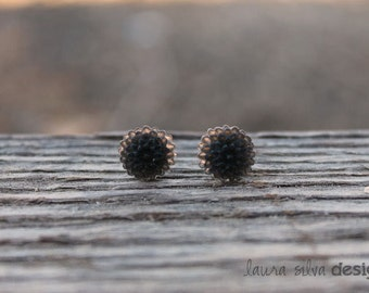 Frosted Black Dahlia Cabochon Earrings