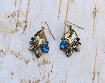 SALE- Colorful Earrings, Rhinestone Vintage Drop Earrings, Antique Gold Crystal Dangles