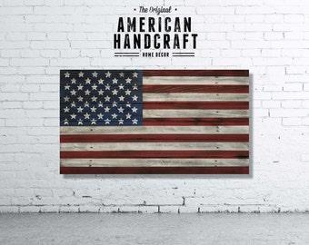 American Flag - Handmade Distressed Wooden Flag (50 stars)