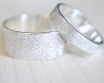 Fingerprint Jewellery Custom Wedding Ring Handmade Personalised Gift  Ring Girlfriend Boyfriend Gift for Men Gift for Women