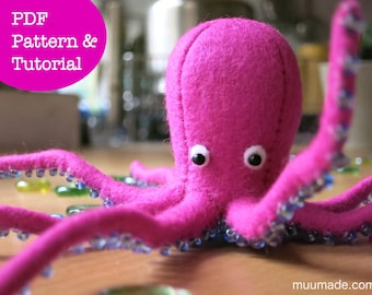 Octopus Sewing Pattern, Stuffed Animal Pattern, Handmade Gift, Decor, Felt Animal Pattern, Felt Toy Sewing Pattern, Gift for Children,
