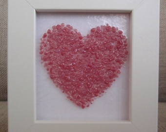 Baby Pink Fused Glass Heart Picture