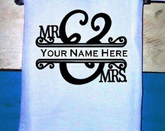 PERSONALIZED MR & MRS  Kitchen Towel Flour sack Tea Towel