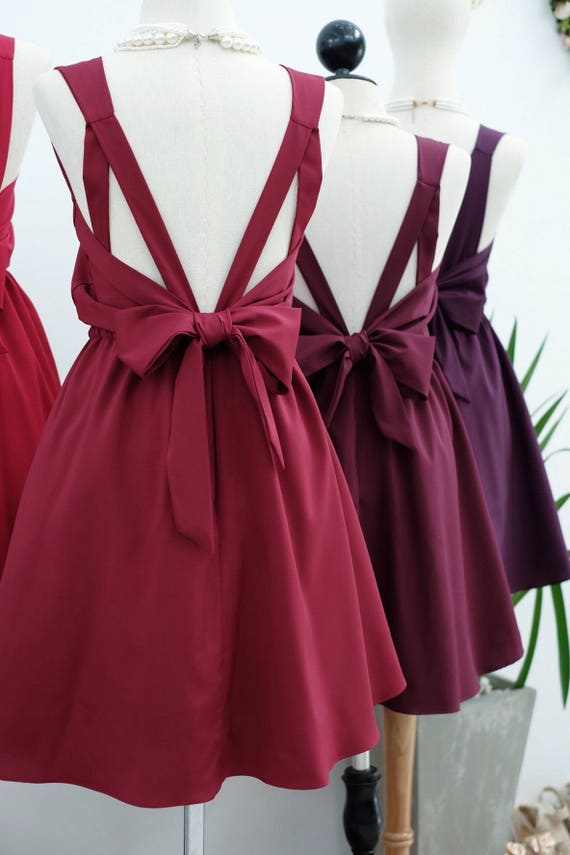 Dunkle rote Brautjungfer Kleid Bordeaux Kleid Cocktailkleid