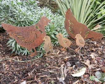 Rusty Metal Chicken U0026 Easter Chicks / Easter Gift / Easter Chicken Garden  Decor / Chicken Gift / Metal Chicken/ Metal Garden Ornament