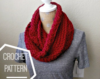 Chunky Ribbed Crochet Scarf Pattern, Chunky Infinity Scarf Pattern, Beginner Crochet Patterns, Chunky Crochet Pattern Infinity Scarf, Easy